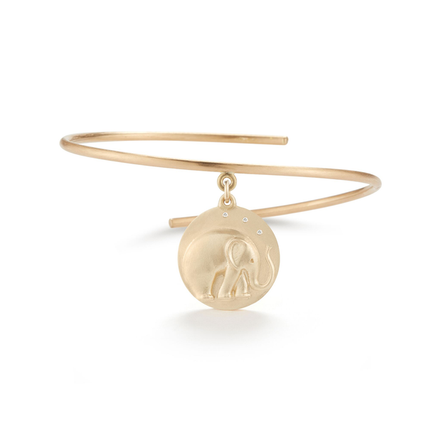 Elephant Solid 14K Gold Charm Bangle with Diamonds