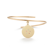 Swan Solid 14K Gold Charm Bangle with Diamonds