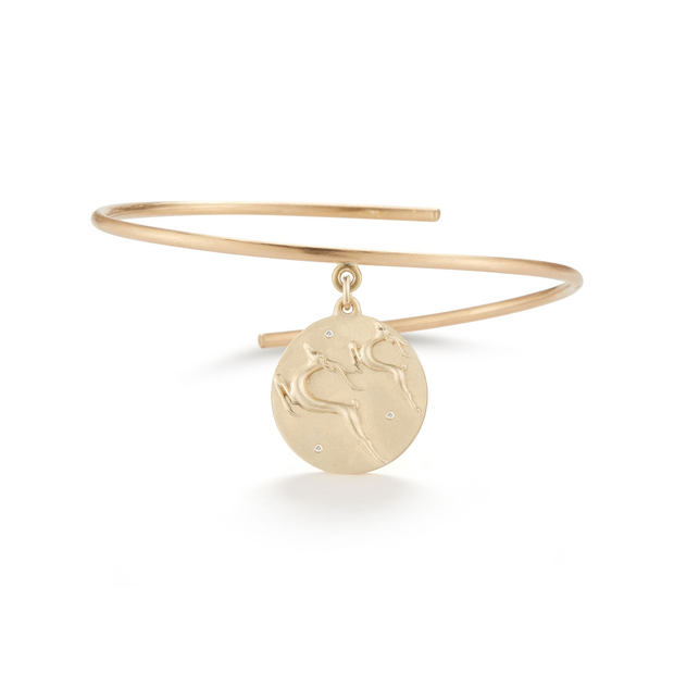 Gazelle Solid 14K Gold Charm Bangle with Diamonds