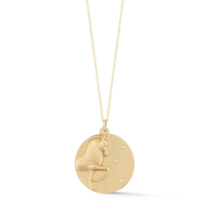 Horse Gold Plate Charm Chain Necklace with Diamonds