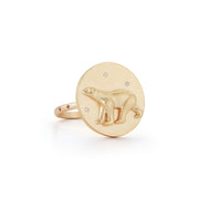 Polar Bear Solid 14K Gold Ring with Diamonds