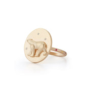 Polar Bear Gold Plate Ring with Diamonds
