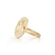 Swan Gold Plate Ring with Diamonds