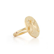 Swan Solid 14K Gold Ring with Diamonds