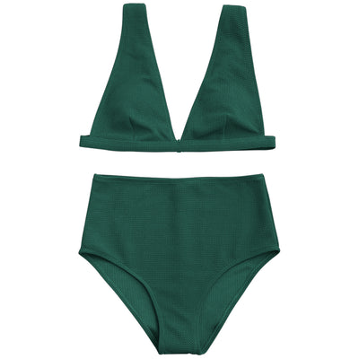 Textured Plunge High Waisted Bikini Set