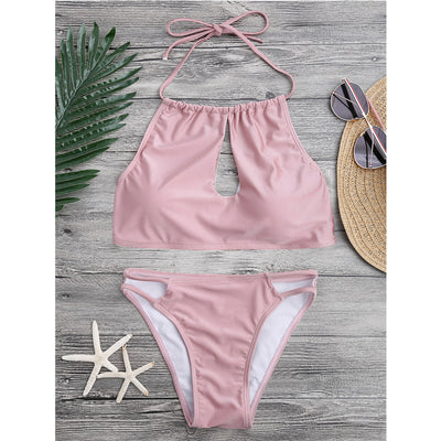 High Neck Cutout String top Bikini set