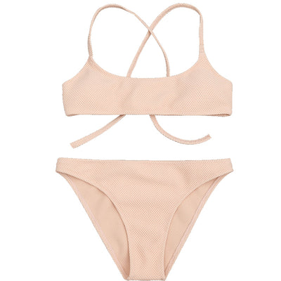 Textured String Top Bikini set