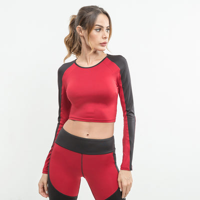 Meshed Full sleeve Sports Crop Top