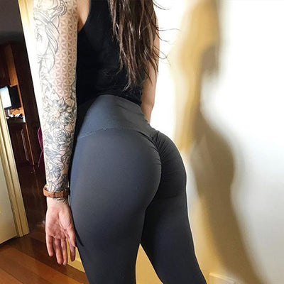 Wrinkled Solid Color High waisted leggings