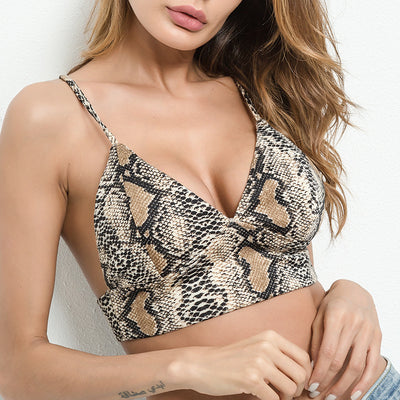 Snakeskin print backless sports bra top