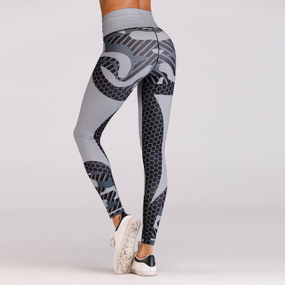 Helix Honeycomb Printed Cross waisted Leggings