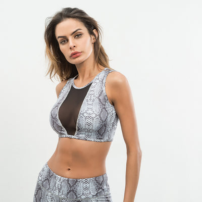Meshed Snakeskin printed sports bra top
