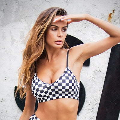 Women's Checkered Pattern Sports bra