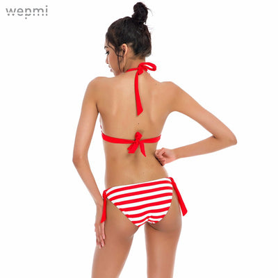 Striped Halter Bikini Set