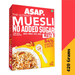 ASAP Wholegrain High Protein Breakfast Muesli with NO ADDED SUGAR, 84% Almonds + 4 Toasted Grains - Oats, Wheat, Rice, and Ragi | Rich in Fibre (420g, Box) : Pack of 1