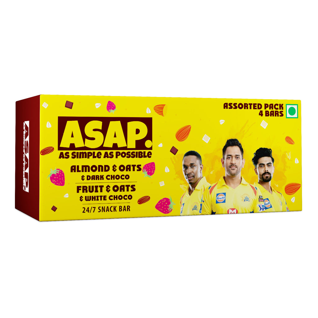ASAP CSK box of 4 - 2 Almond & Dark Chocolate + 2 Fruit & White Chocolate granola bar