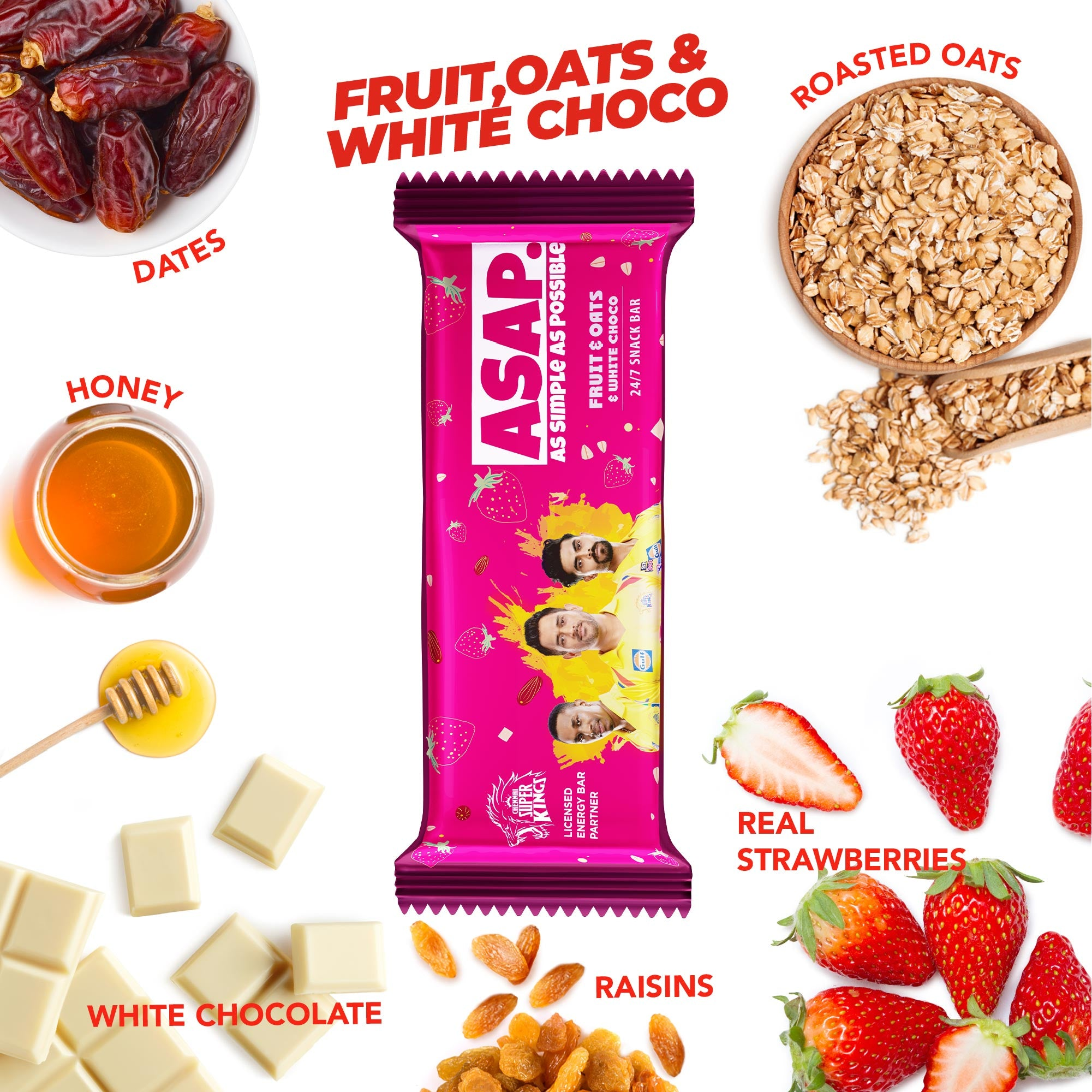 ASAP Fruit, Oats & White Choco snack bars - Family box of 12. Special edition CSK Packs