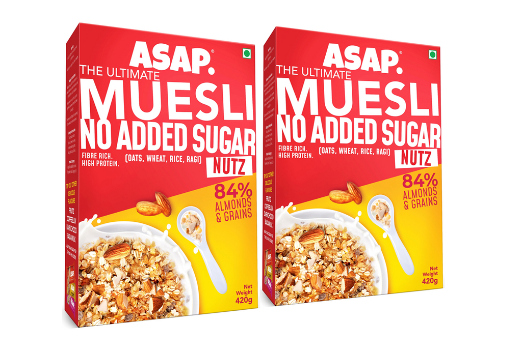 ASAP Wholegrain High Protein Breakfast Muesli with NO ADDED SUGAR, 84% Almonds + 4 Toasted Grains - Oats, Wheat, Rice, and Ragi | Rich in Fibre (420g, Box) : Pack of 2