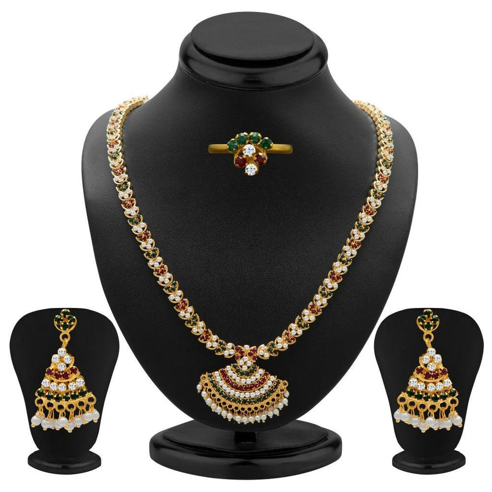 Sukkhi Ritzzy Marron, Green and White Colour Stone Studded Necklace Set