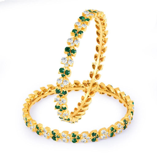 Sukkhi Glistening Green and White Colour Stone Studded Bangles