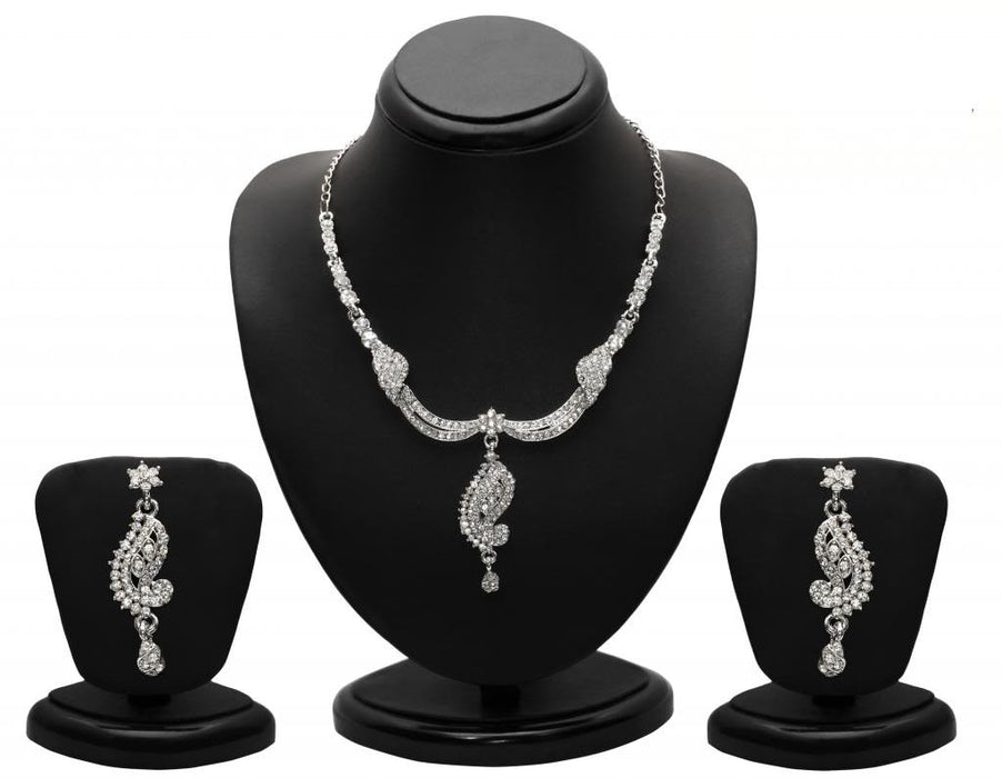 Sukkhi Magnificent Rhodium plated AD Stone Necklace Set