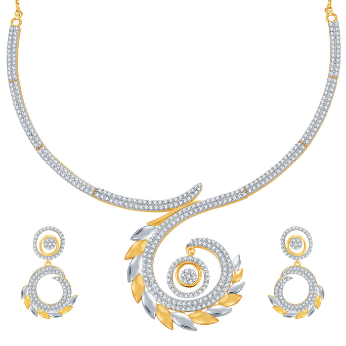 Pissara Marvellous Gold and Rhodium Plated CZ Necklace Set