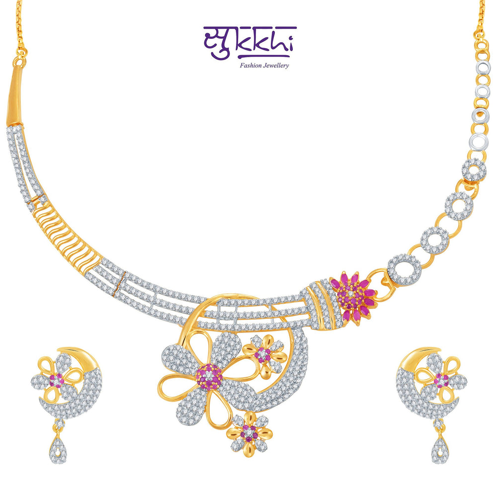 Pissara Incredible Ruby Studded Gold and Rhodium Plated CZ Necklace Set