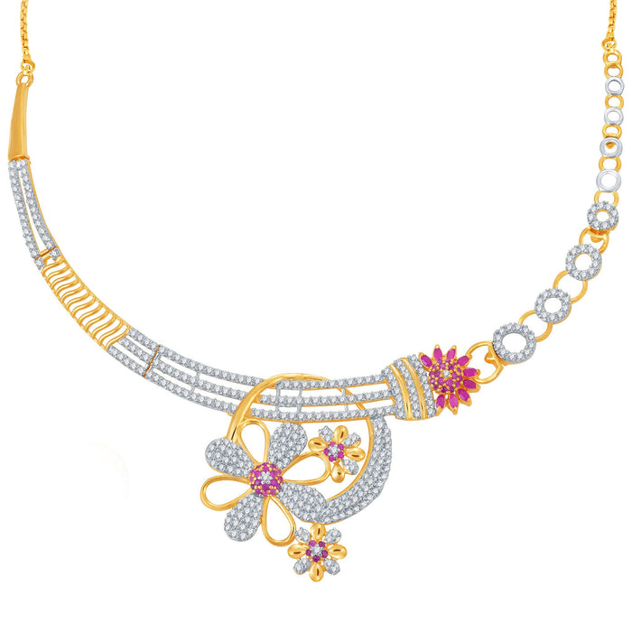 Pissara Incredible Ruby Studded Gold and Rhodium Plated CZ Necklace Set-1