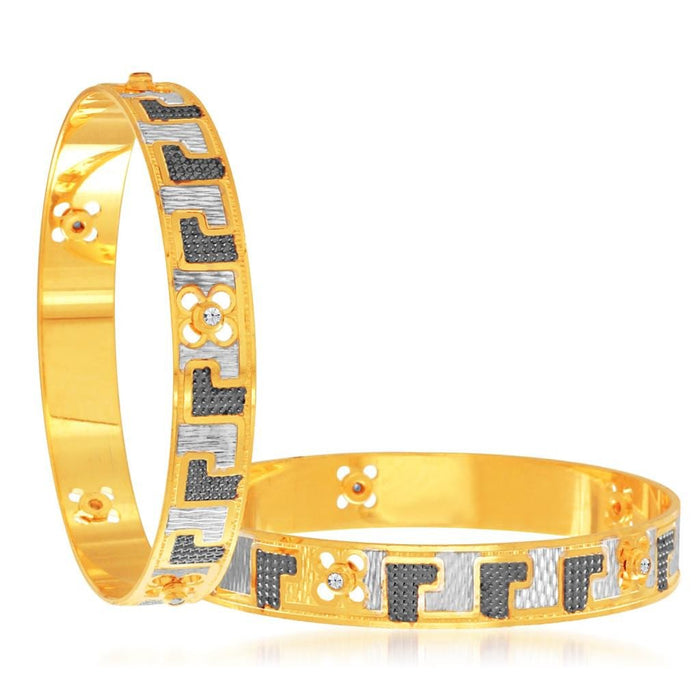 Sukkhi Stunning Gold and Rhodium Plated Dancing Bangles for Women
