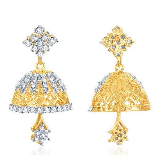 Pissara Marvellous Gold and Rhodium Plated CZ Jhumki