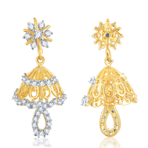 Pissara Incredible Gold and Rhodium Plated CZ Jhumki