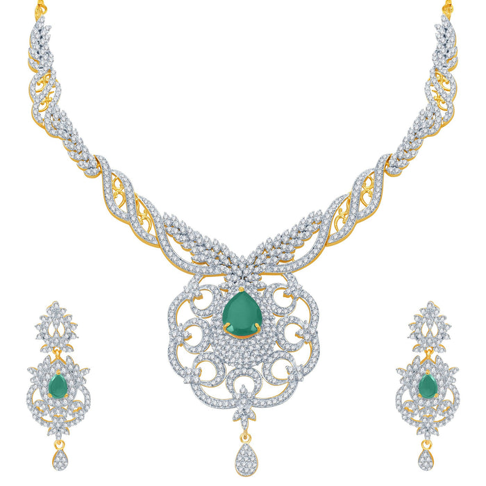 Pissara Modern Emerald Studded Gold and Rhodium Plated CZ Necklace Set