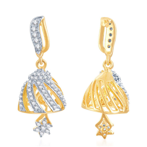 Pissara Lavish Gold and Rhodium Plated CZ Jhumki