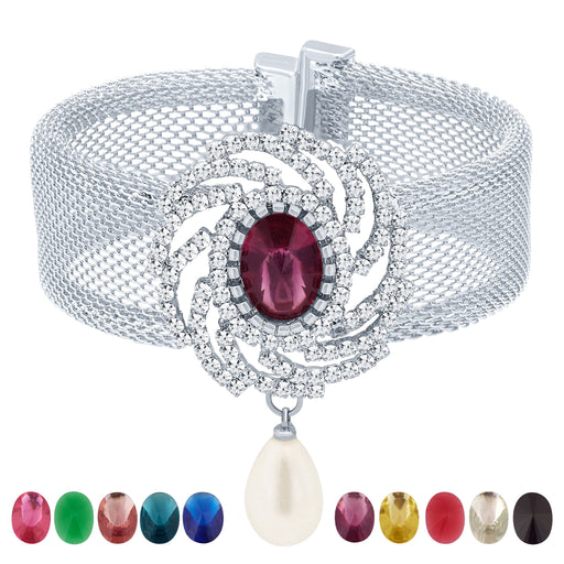 Sukkhi Shimmering Rhodium Plated AD Ten Changeable Stone Kada