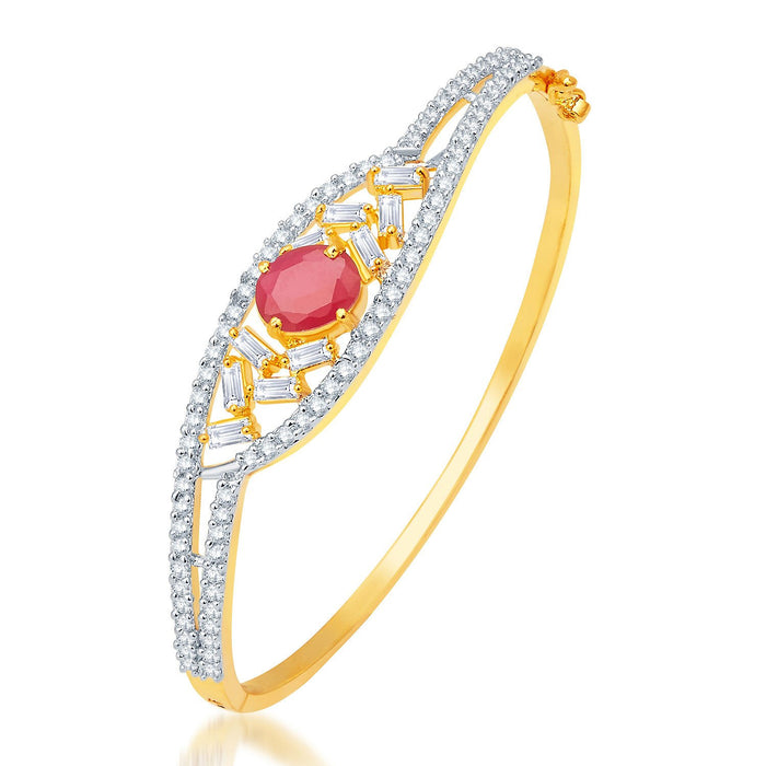 Pissara Ritzy Gold and Rhodium Plated CZ Kada