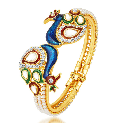Sukkhi Excellent Peacock Gold Plated Kundan Kada