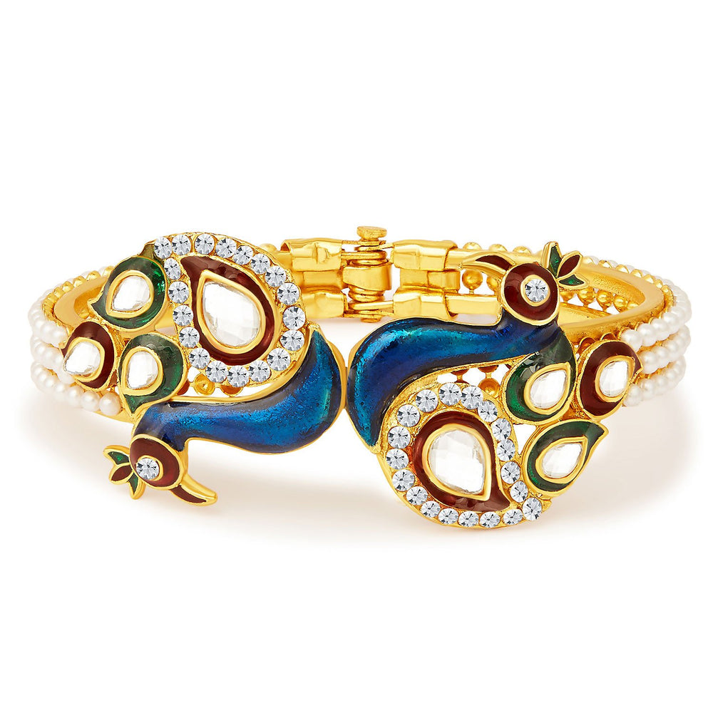 Sukkhi Excellent Peacock Gold Plated Kundan Kada-1