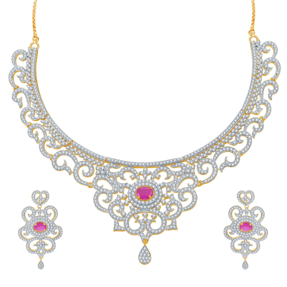 Pissara Indian Wedding Ruby Studded Gold and Rhodium Plated CZ Necklace Set