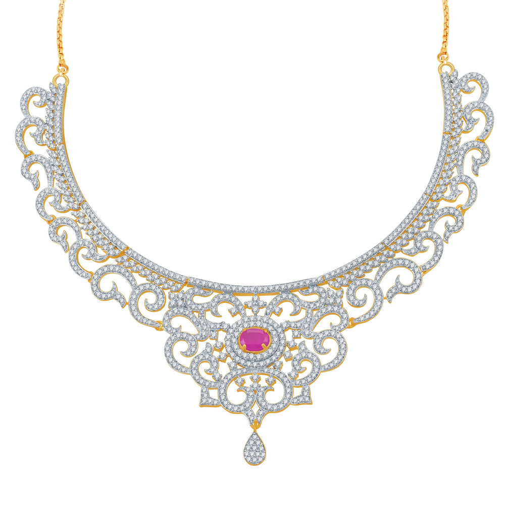 Pissara Indian Wedding Ruby Studded Gold and Rhodium Plated CZ Necklace Set-1