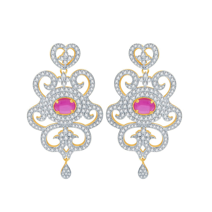 Pissara Indian Wedding Ruby Studded Gold and Rhodium Plated CZ Necklace Set-2