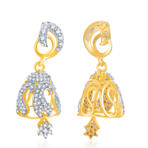 Sukkhi Fascinating Gold And Rhodium Plated Cz Jhumki