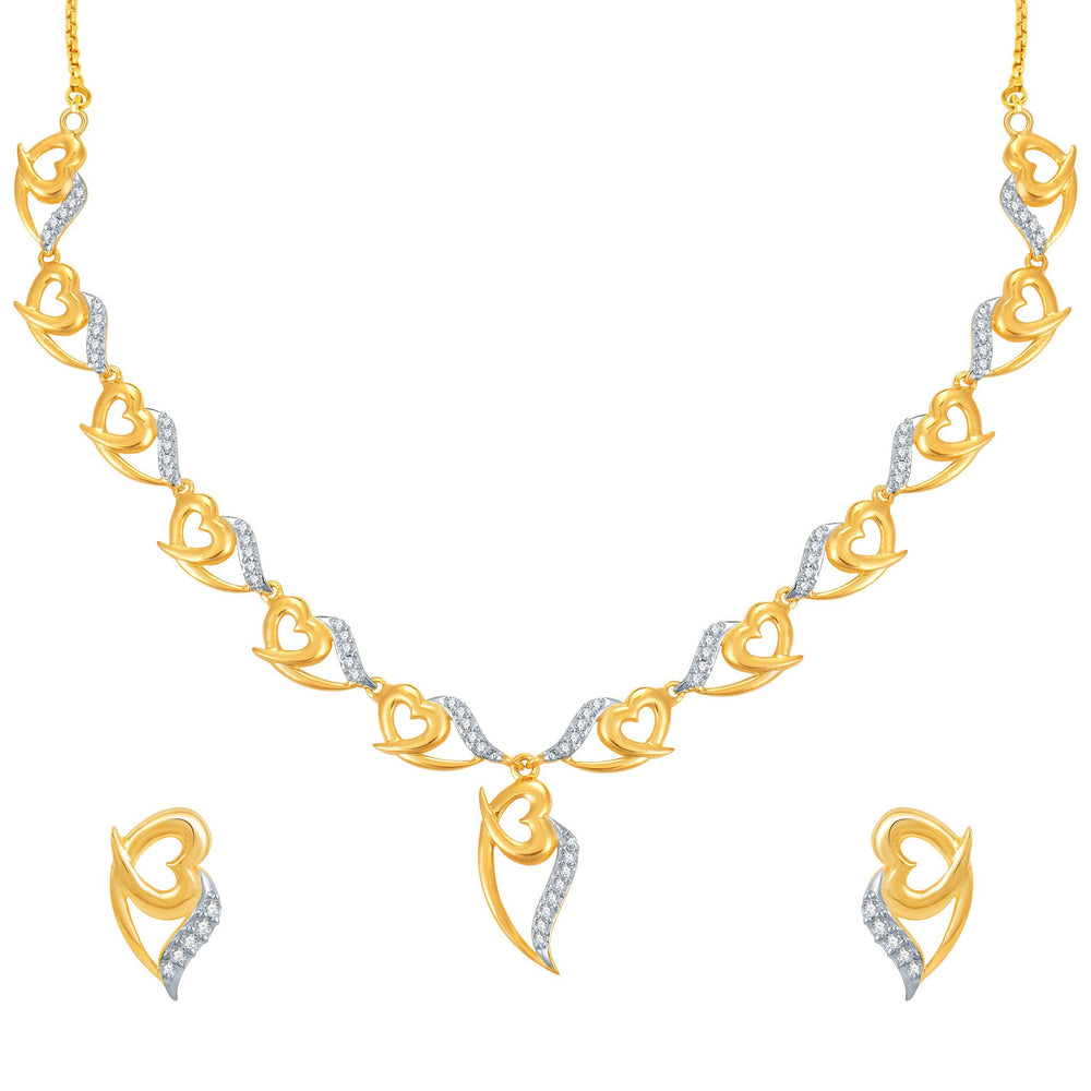 Pissara Stylish Gold and Rhodium Plated CZ Necklace Set