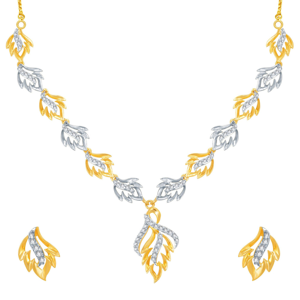 Pissara Moddish Gold and Rhodium Plated CZ Necklace Set