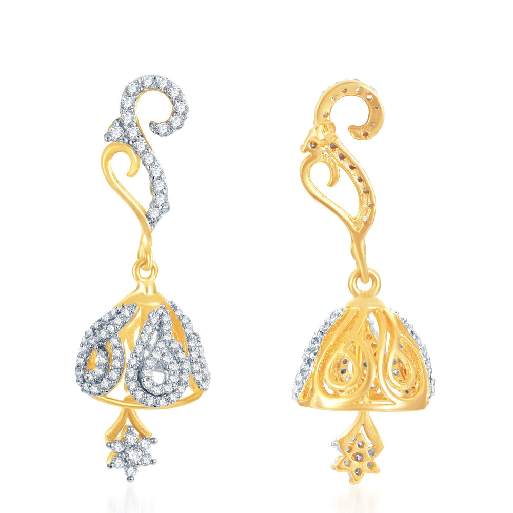 Pissara Modern Gold and Rhodium Plated CZ Jhumki