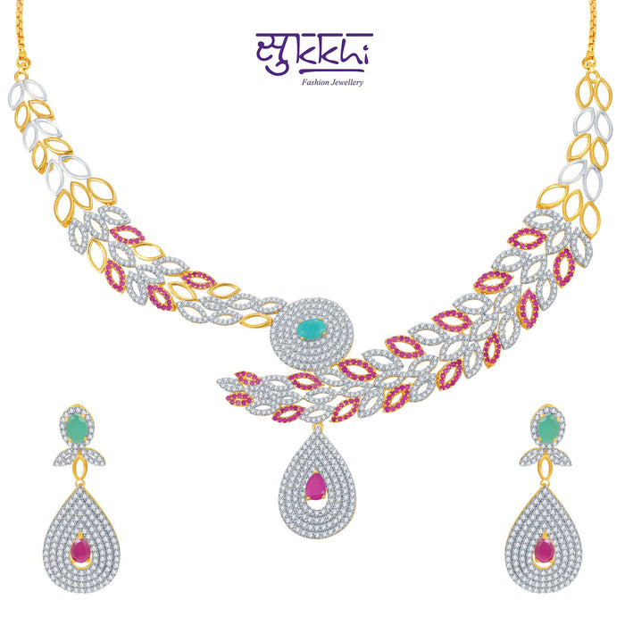Pissara Marvellous Ruby and Emerald Studded Gold and Rhodium Plated CZ Necklace Set