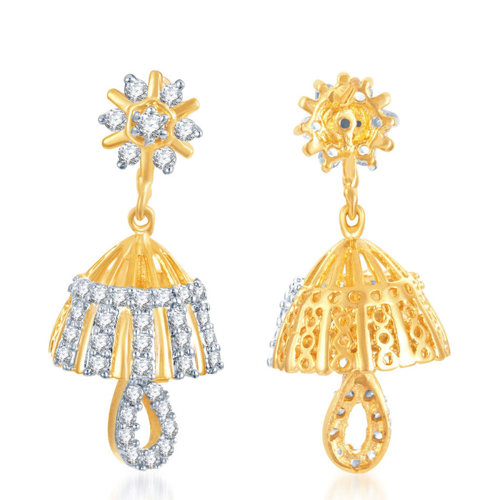 Pissara Youthful Gold and Rhodium Plated CZ Jhumki