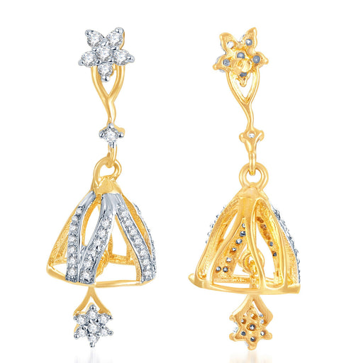 Pissara Indian Wedding Gold and Rhodium Plated CZ Jhumki