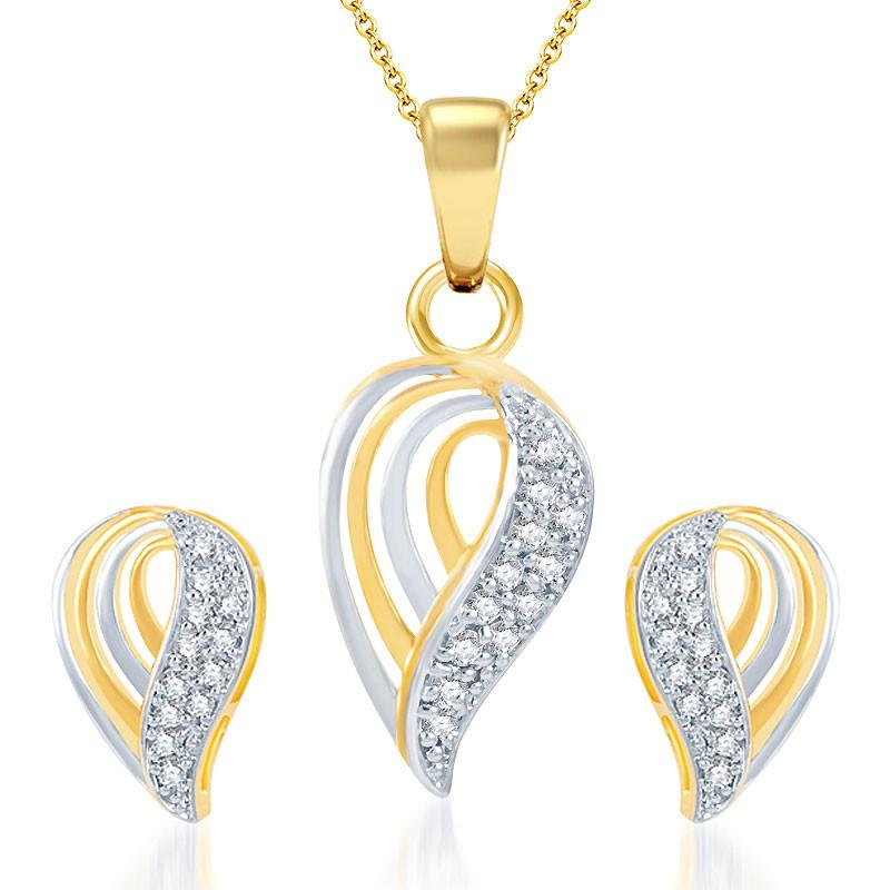 Pissara Dazzling Gold and Rhodium Plated CZ Pendant Set