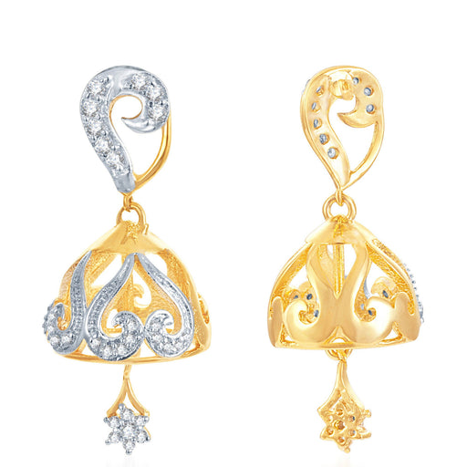 Pissara Moddish Gold and Rhodium Plated CZ Jhumki