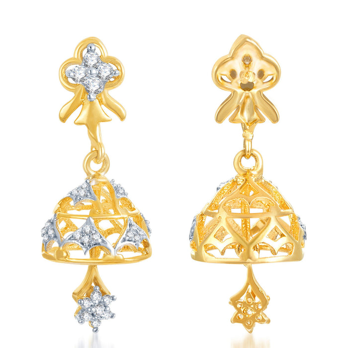 Pissara Marvelous Gold and Rhodium Plated CZ Jhumki